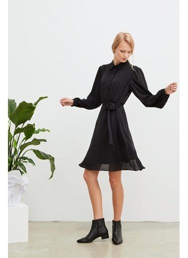 Love My Body Gömlek Yaka Şifon Elbise Siyah